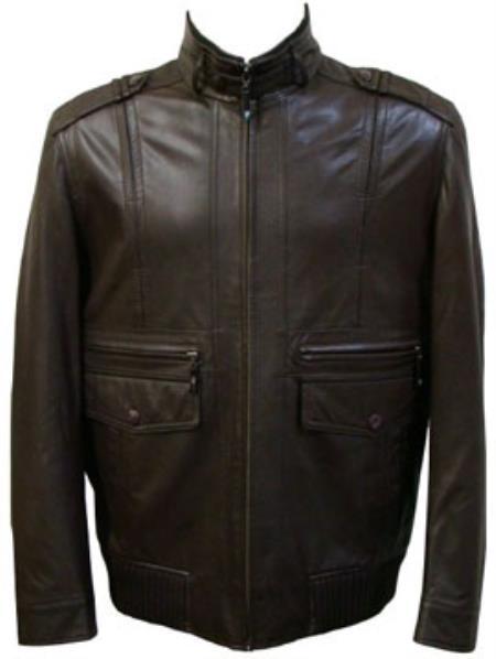 Mens Black Front Pocket Lamb Leather Zip Big and Tall Bomber Jacket