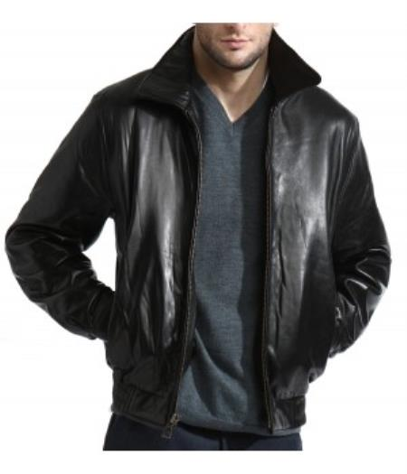 Mens Classic Black Lambskin Leather Simple Bomber Jacket