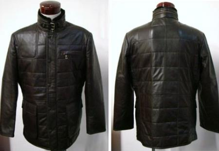 Men's Black Lambskin Leather Quilted Coat Big and Tall Bomber Jacket