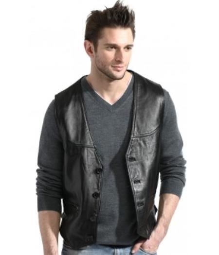 Men's Black Lambskin Leather Classic Dress Vest