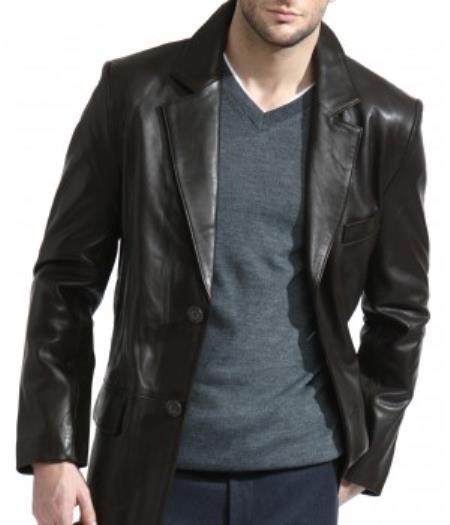 Mens Classic 2-Button Black Lambskin Leather Blazer Sports Jacket