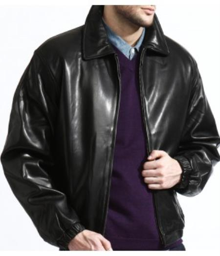 Men's Classic Black Lambskin Leather Big and Tall Bomber Jacket A Classic Body Made From Top Grain