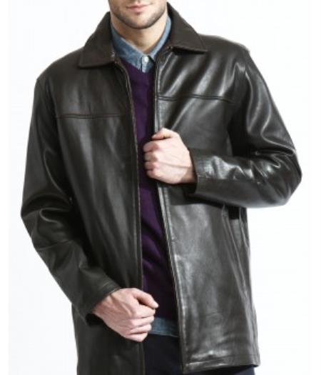 Men's Basic Black 3/4 Leather Big and Tall Bomber Jacket, Liner, Soft Lambskin Leather