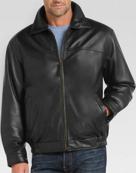 Men's Full-Zip Closure Black Lambskin Leather Classic Fit Big and Tall Bomber Jacket