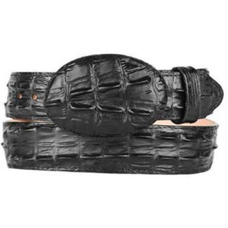 Mens Gator ~ World Best Alligator ~ Gator Skin Print (Imitation) Western Style Leather Belt Black