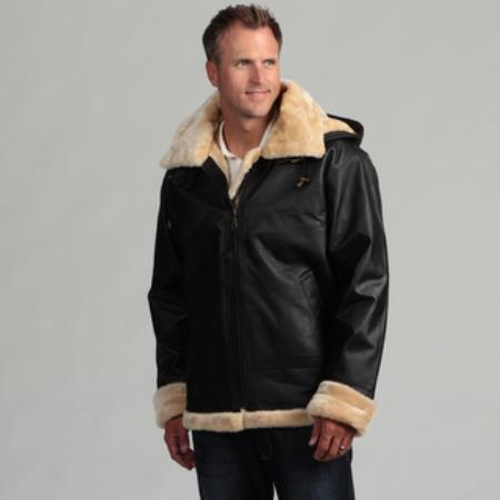 Leather Shearling Bomber Jacket