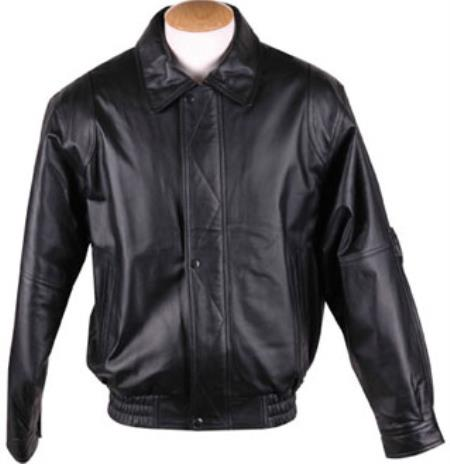 Mens Zip-Out Liner Classic Leather Black Big and Tall Bomber Jacket