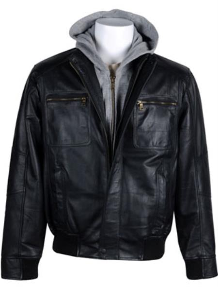Mens Leather Big and Tall Bomber Jacket with Removable Hood Black