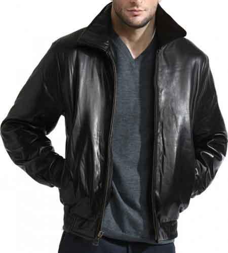 Mens Classic Black Front Zipper Closure Lambskin Leather Bomber Jacket