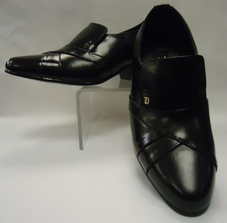 SKU#HJM8112 Mens Black Leather Cuban Heel Slip On ~ Loafer Shoes