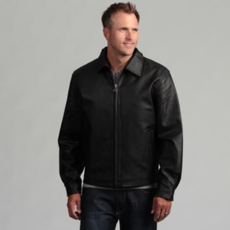 Men's Pig Napa Leather Big and Tall Bomber Jacket Black