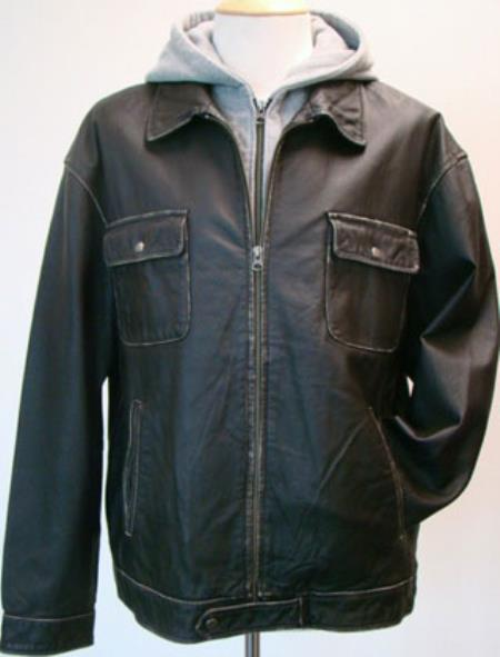Mens Removable Fleece Hood And Washed Leather Zip Big and Tall Bomber Jacket Black