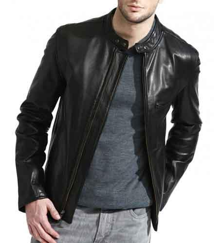 Men's Full Sleeve Zipper Closure Black Lambskin Leather Cafe Racer Big and Tall Bomber Jacket