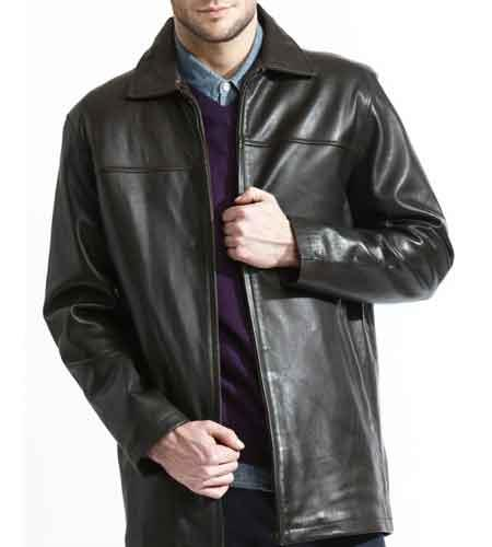 Mens Basic Front Zipper Black 3/4 Length Soft Lambskin Leather Big and Tall Bomber Jacket