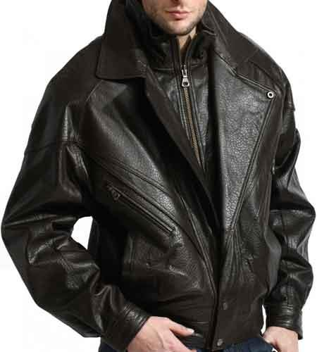 Men's Black Classic Full Sleeve Classic Double Collared Lambskin Leather Big and Tall Bomber Jacket