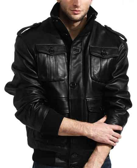Mens Black Lambskin Leather Shoulder Epaulets Military Safari Big and Tall Bomber Jacket