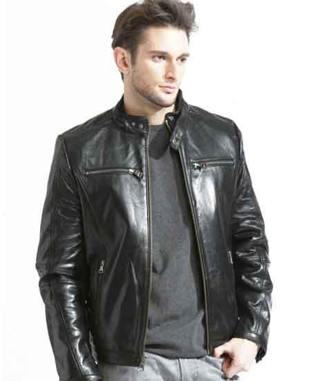 Men's Lambskin Leather Black Modern European Fit With Sleeve Trim Racing Jacket SM2071