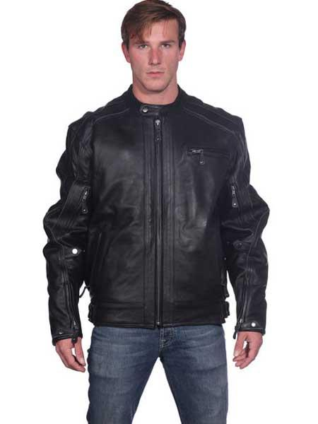 Men's Classic Front Zipper Closure Black Leather Basic Big and Tall Bomber Jacket
