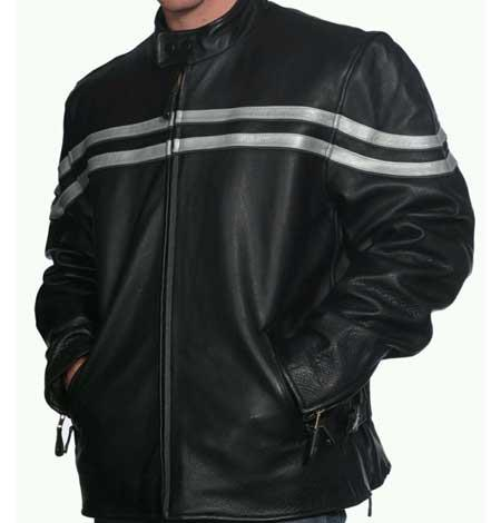 Mens Classic Black Snap Collar Front Zipper Closure Leather Jacket