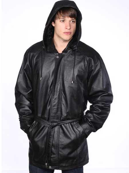 Men's Black Classic Leather Removable Belt Jacket With Zip Out Hood