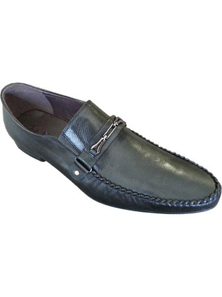 SKU#SM1678 Zota Brand Mens Black Italian Style Fashionable Leather Loafers
