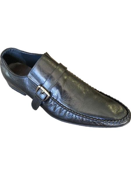 Zota Brand Mens Side Buckle And Strap Black Italian Style Leather Loafers