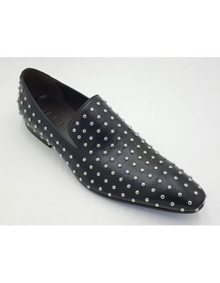 Men's Genuine Suede Soft Genuine leather Studs Design Slip-On Black Stylish Dress Loafer Unique Zota Men's Dress Shoe