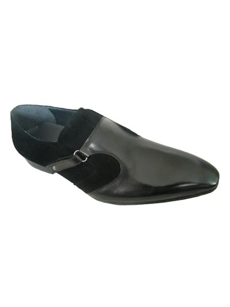 SKU#SM3469 Zota Brand Mens High Fashionable Suede and Leather Strap Slip On Style Black Loafers