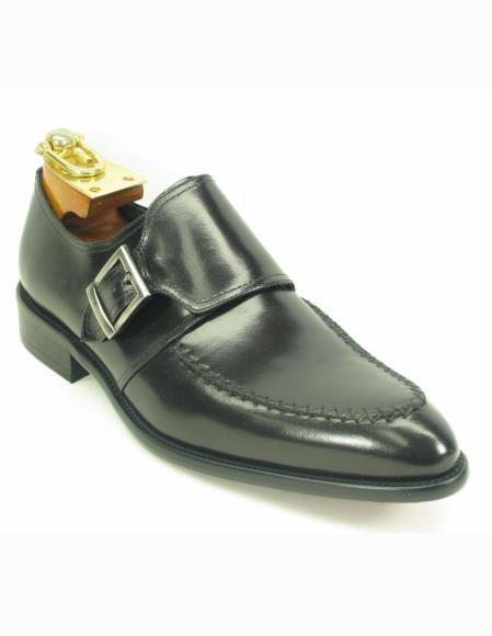 Men's Black Fashionable Carrucci Leather Single Buckle Style Slip On Black Dress Shoe