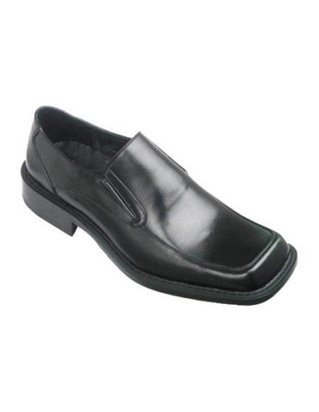 SKU#AP301 Zota Brand Mens Black Slip-On Style Leather Loafer
