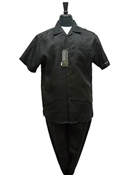 Mens Black Summer Casual Leisure 2 Piece Casual Two Piece Walking Outfit For Sale Pant Sets Suits with Cuffed Pants