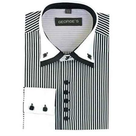 Men's Black Long Sleeve Dress Shirt White Collar Two Toned Contrast Two Tone Striped White Collared Contrast
