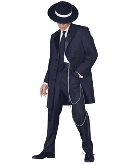 Mens Tuxedo Fashion Formal Black Longer Fashion Zoot Suit
