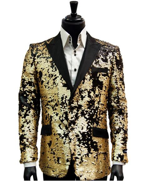 Alberto Nardoni Brand Fashion Mens 2 Button Single Breasted Black Matte Gold Sequin Pattern Blazer