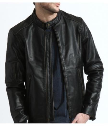 The Classic Distressed Moto Jacket In 100% Genuine Cowhide Leather