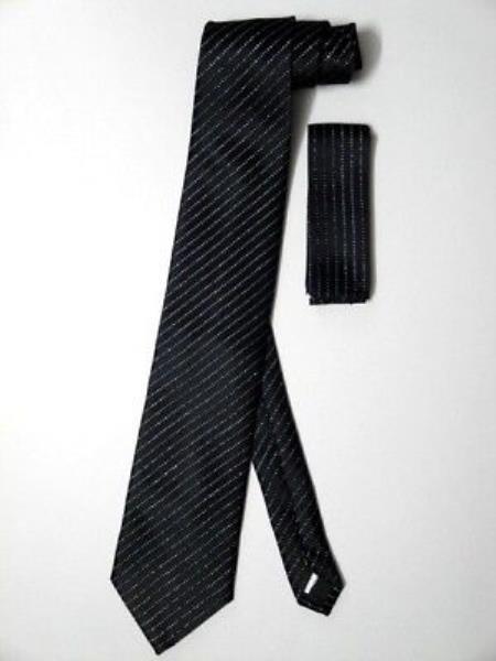 Neck Tie Set Black W/ Metallic Silver