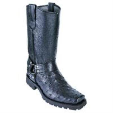 Quill Ostrich Biker Boots