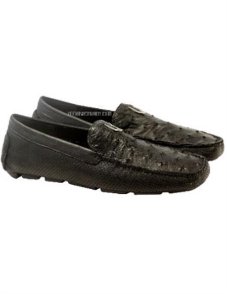 Mens Black Vestigium Genuine Ostrich Full Leather Loafers