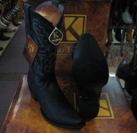 Buy MK943 Mens Genunie Ostrich Leg King Exotic Snip Toe Western Cowboy Black Boot