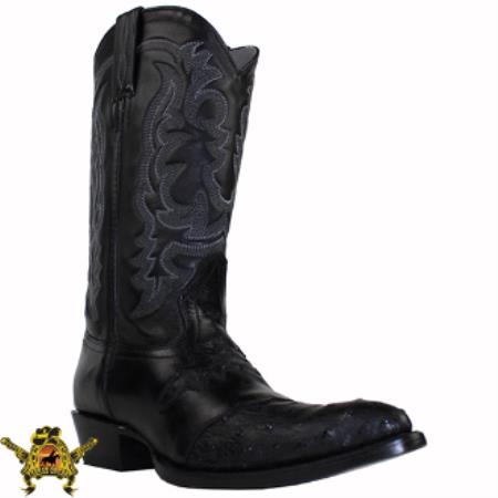 Mens King Exotic Ostrich Western Boots With Saddle Vamp Black