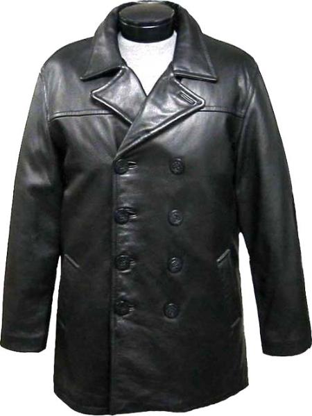 SKU#FVS12 Mens Classic Pea-Coat Black