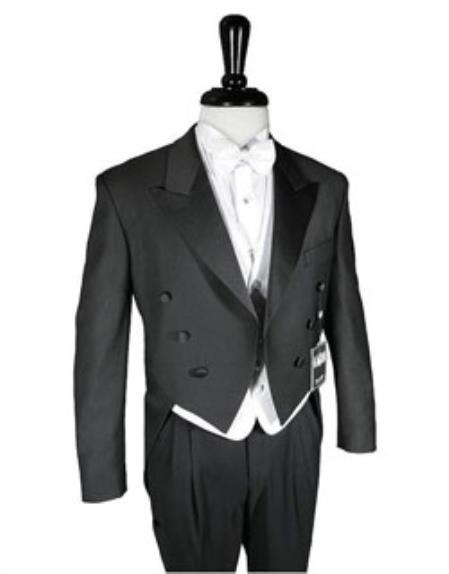 Super 150's Black Peak Tailcoat Includes Formal Trousers