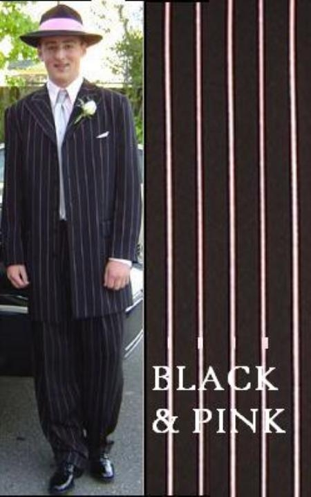 SKU# AQE394 Mens Black & Pink Pinstripe Fashion Zoot Suit $139