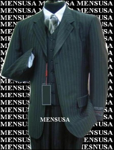 SKU# FNO982 Luxurious #MU3B Black & Smoth Conservative Pinstripe 3 Pieces Vested Business Suits Double Side Vent Available in 2 buttons only