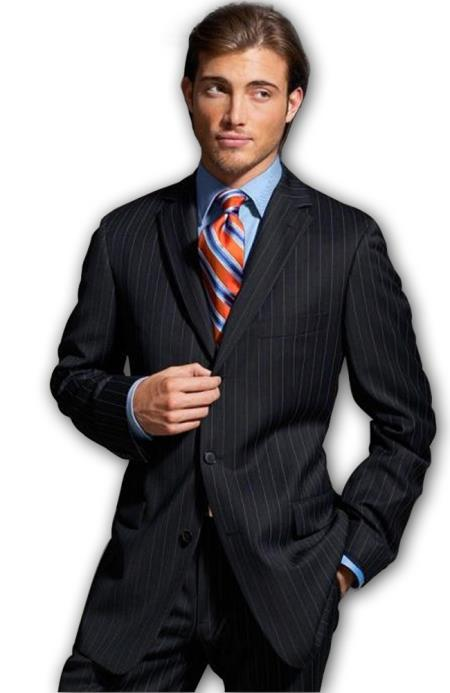 Men's Black Pinstripe Double Vent Super Three buttons style 140's Wool feel poly~rayon $199 (Wholesale Price available)