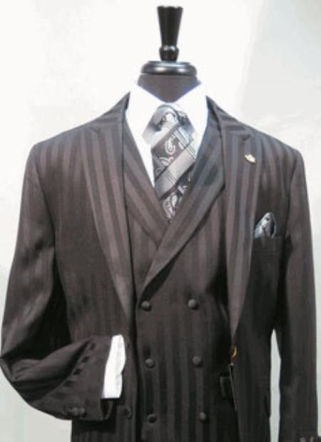 Mens Suit Single Breasted Two Covered Button Suit Jacket with Peaked Lapel with A Double Breasted Three Button Label Vest In sophisticated 1/2 Satin Stripe ~ Pinstripe Fabric Black