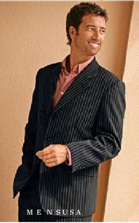 Jet Black PinStripe Bold %100 Percent Soft New Generation 21 Centurry Niceest Cool 1920s 30s Fashion Look Available in 2 or 3 buttons