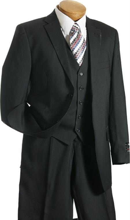 2BV 3 Pc Vested Black On Black Stripe ~ Pinstripe Designer affordable Cheap Priced Business Suits Clearance Sale online sale Shadow Pattern
