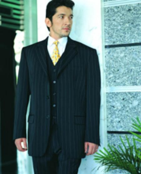 SKU#C765 Power Black Pinstripe Super 120s Wool Feel Extra Fine Poly~Rayon Available in 2 buttons only