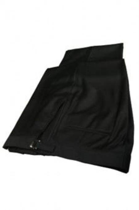Super 150s Plain Front Black Tuxedo Pants  unhemmed unfinished bottom